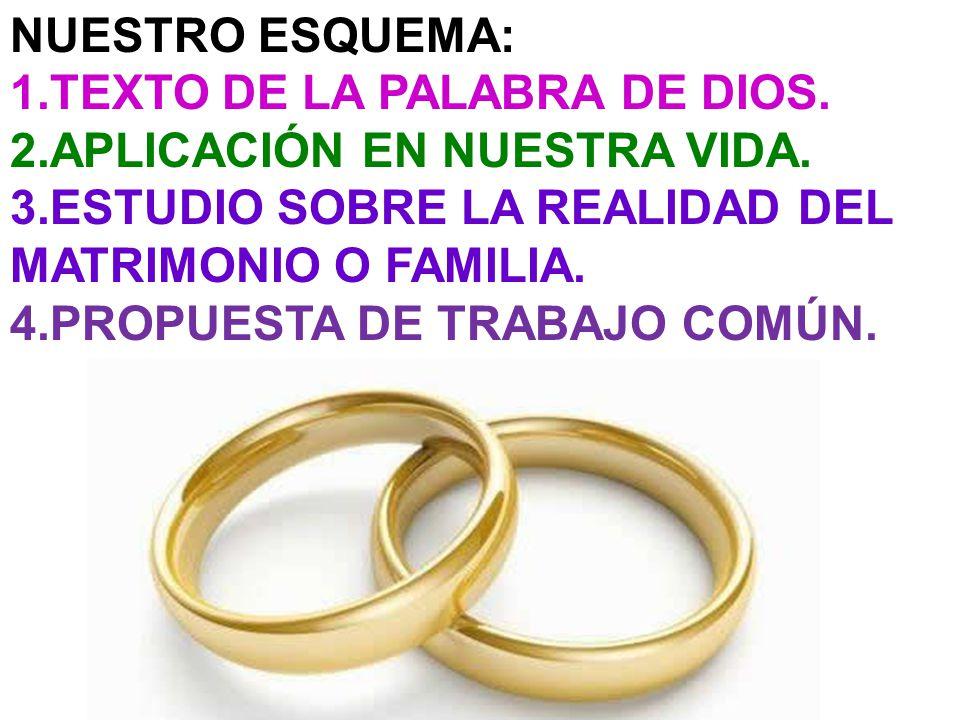 NUESTRO ESQUEMA: 1.TEXTO DE LA PALABRA DE DIOS. 2.APLICACIÓN EN NUESTRA VIDA. 3.ESTUDIO SOBRE LA REALIDAD DEL MATRIMONIO O FAMILIA. 4.PROPUESTA DE TRA