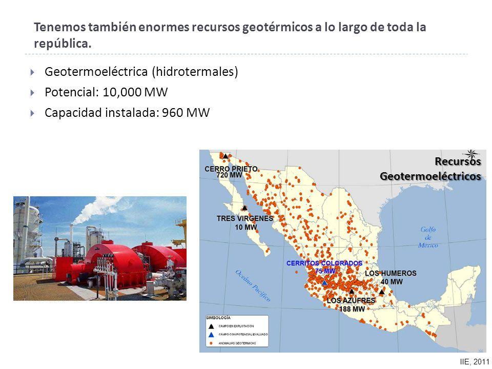 Recursos Geotermoeléctricos Tenemos también enormes recursos geotérmicos a lo largo de toda la república.