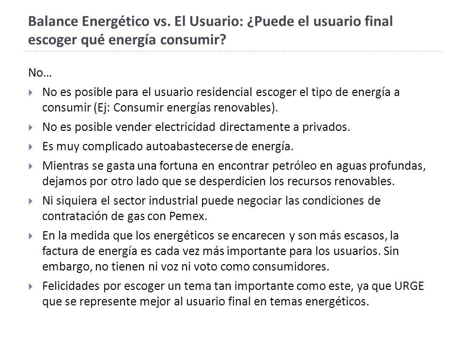 Balance Energético vs.El Usuario: ¿Puede el usuario final escoger qué energía consumir.