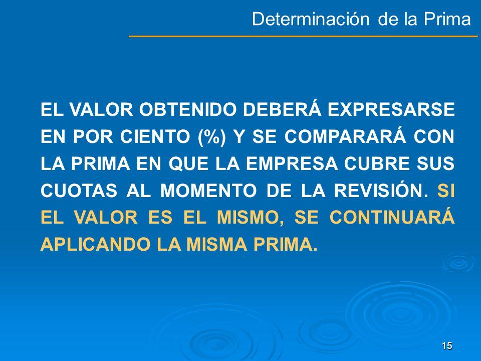 14 PARA LA FIJACIÓN DE LA PRIMA, SE CONSIDERARÁ LA SINIESTRALIDAD DE LA EMPRESA, MULTIPLICADA POR UN FACTOR DE RIESGO MÁS LA PRIMA MÍNIMA DE RIESGO CONFORME A LA FÓRMULA QUE SE ESTABLECE EN EL ARTÍCULO 72 DE LA LEY DEL SEGURO SOCIAL.