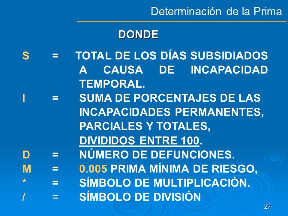 26 DETERMINACIÓN DE LA PRIMA DE COTIZACIÓN EN EL SEGURO DE RIESGOS DE TRABAJO, CONFORME A LA FORMULA INCLUIDA EN LOS ARTICULOS 72 DE LA LEY DEL SEGURO SOCIAL Y 35 DEL REGLAMENTO DE LA LEY DEL SEGURO SOCIAL EN MATERIA DE AFILIACIÓN, CLASIFICACIÓN DE EMPRESAS, RECAUDACIÓN Y FISCALIZACIÓN PRIMA = [ ( S/365 ) + V* (I +D) * ( F / N) + M PRIMA = [ ( S/365 ) + V* (I +D) * ( F / N) + M DETERMINACIÓN PATRONAL DE LA PRIMA DE RIESGOS DE TRABAJO Determinación de la Prima