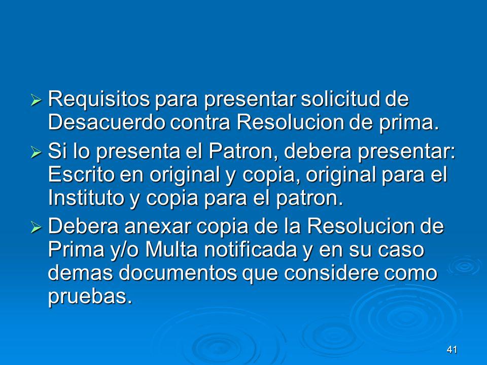 40 SOLICITUD DE DESACUERDO VS RESOLUCION DE RECTIFICACION DE PRIMA.