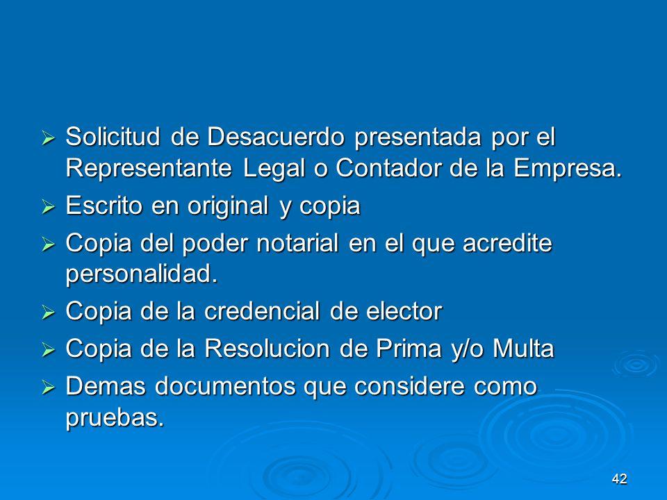 41 Requisitos para presentar solicitud de Desacuerdo contra Resolucion de prima.