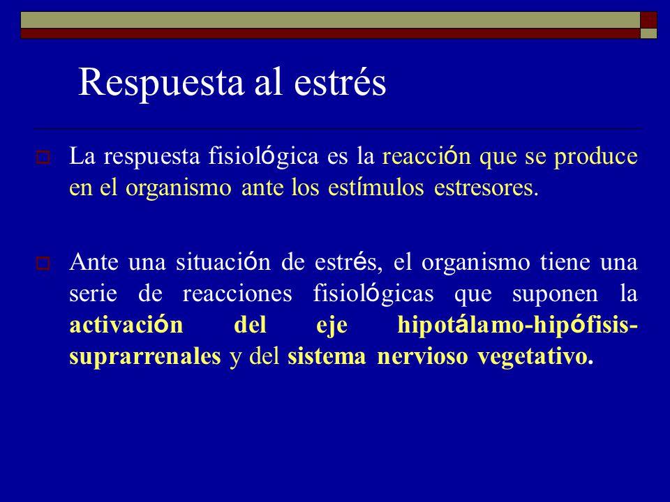 Respuesta al estrés La respuesta fisiol ó gica es la reacci ó n que se produce en el organismo ante los est í mulos estresores. Ante una situaci ó n d