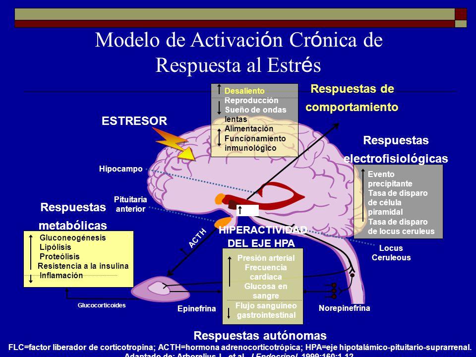 Gluconeogénesis Lipólisis Proteólisis Resistencia a la insulina Inflamación Respuestas metabólicas FLC=factor liberador de corticotropina; ACTH=hormon