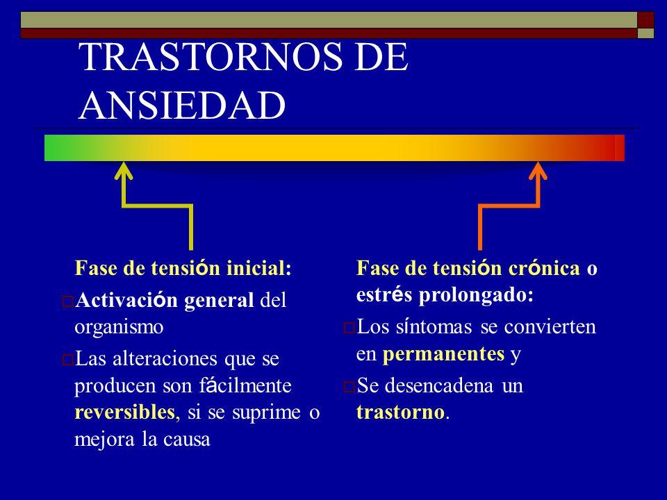 TRASTORNOS DE ANSIEDAD Fase de tensi ó n inicial: Activaci ó n general del organismo Las alteraciones que se producen son f á cilmente reversibles, si