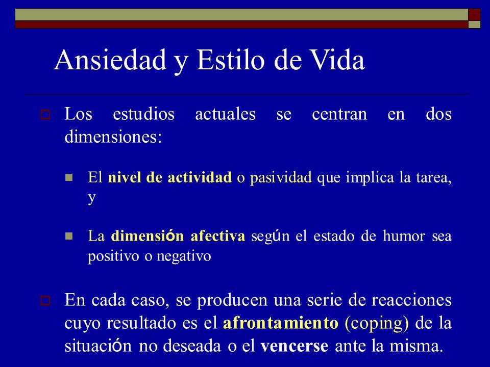Ansiedad y Estilo de Vida Los estudios actuales se centran en dos dimensiones: El nivel de actividad o pasividad que implica la tarea, y La dimensi ó