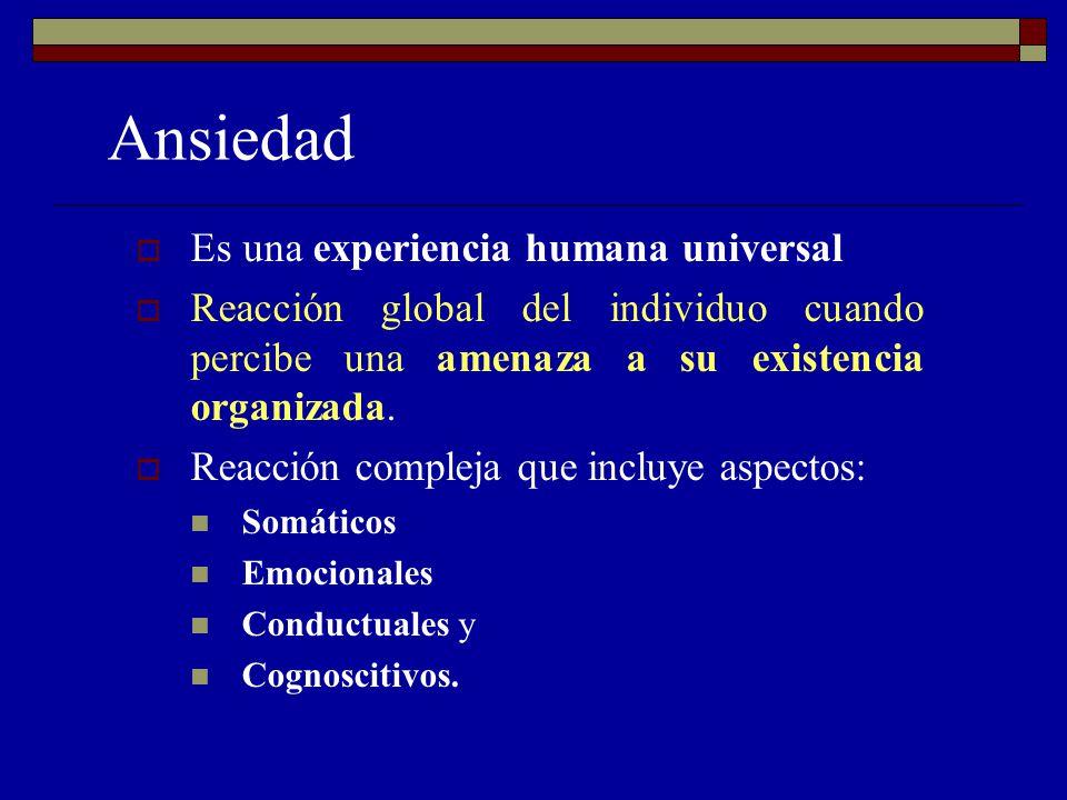 Ansiedad Es una experiencia humana universal Reacción global del individuo cuando percibe una amenaza a su existencia organizada.