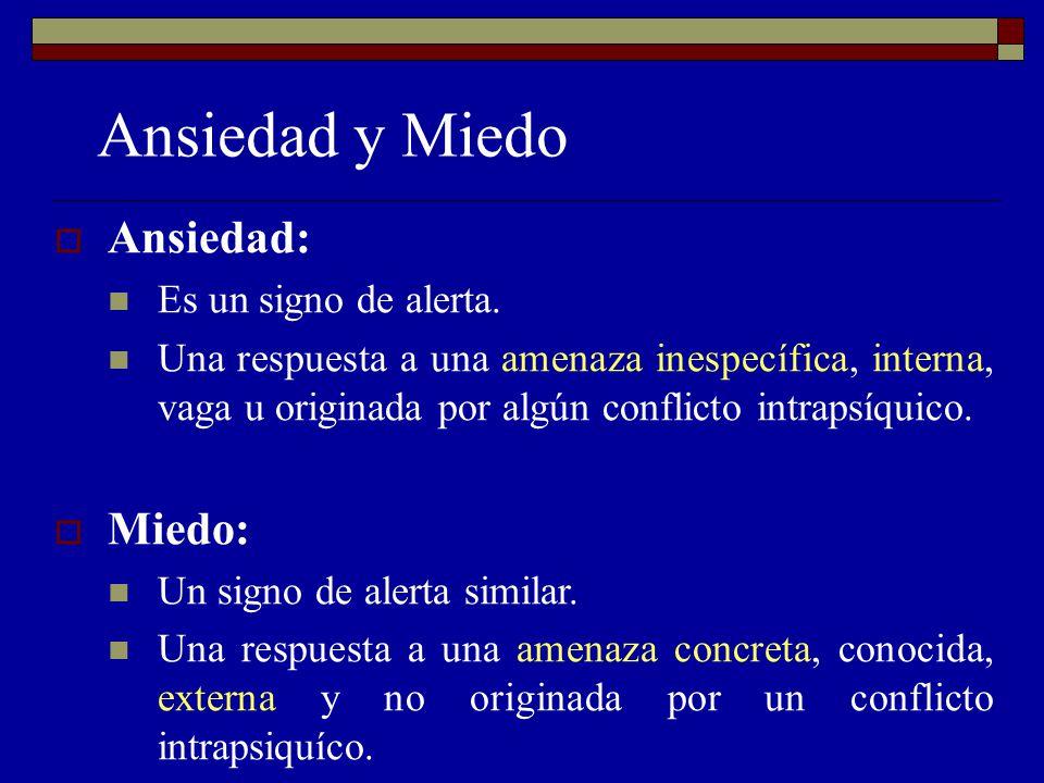 Ansiedad y Miedo Ansiedad: Es un signo de alerta. Una respuesta a una amenaza inespecífica, interna, vaga u originada por algún conflicto intrapsíquic