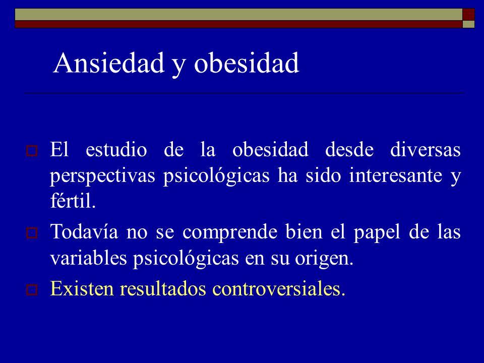 Ansiedad y obesidad El estudio de la obesidad desde diversas perspectivas psicológicas ha sido interesante y fértil. Todavía no se comprende bien el p