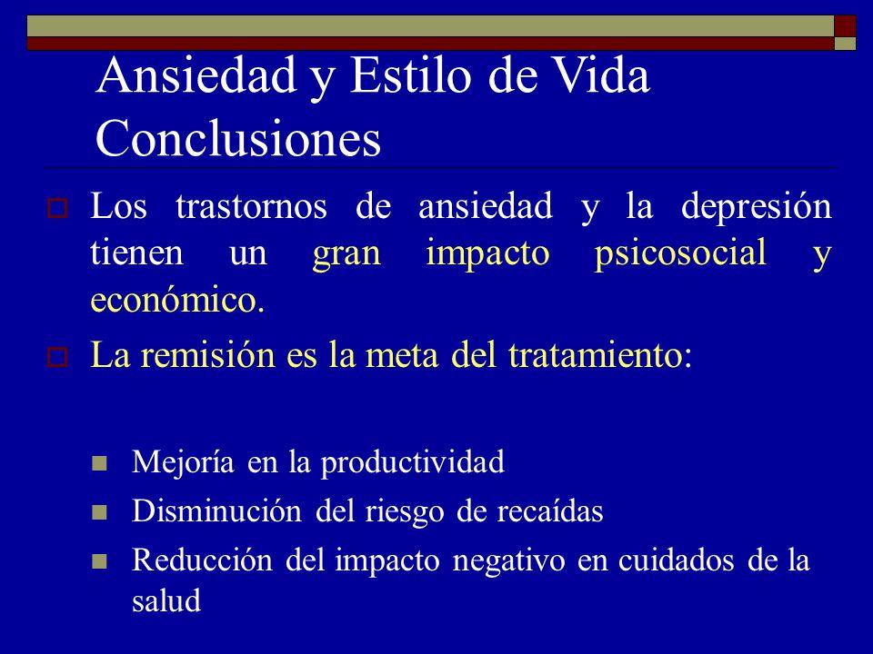 Ansiedad y Estilo de Vida Conclusiones Los trastornos de ansiedad y la depresión tienen un gran impacto psicosocial y económico. La remisión es la met
