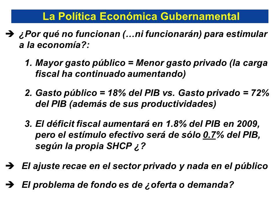 ¿Por qué no funcionan (…ni funcionarán) para estimular a la economía : 1.Mayor gasto público = Menor gasto privado (la carga fiscal ha continuado aumentando) 2.Gasto público = 18% del PIB vs.