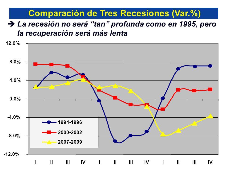 -12.0% -8.0% -4.0% 0.0% 4.0% 8.0% 12.0% IIIIIIIVIIIIIIIVIIIIIIIV 1994-1996 2000-2002 2007-2009 La recesión no será tan profunda como en 1995, pero la recuperación será más lenta Comparación de Tres Recesiones (Var.%)