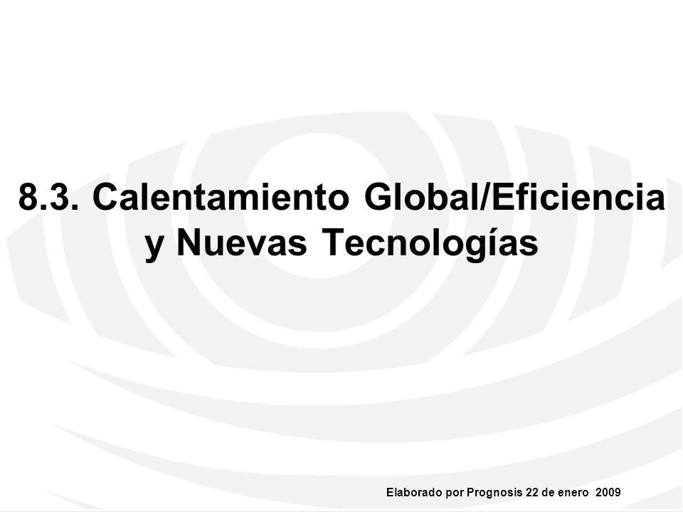 Elaborado por Prognosis 22 de enero 2009 Calentamiento Global/Eficiencia y Nuevas Tecnologías Irreversible macro-tendencia global vs emisiones de CO2 y desperdicio de Agua.