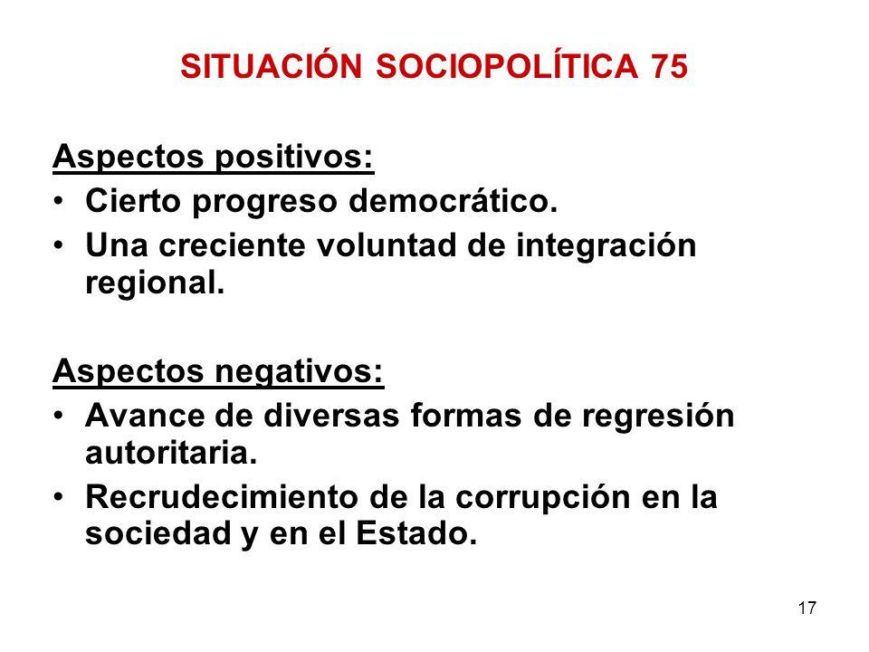 17 SITUACIÓN SOCIOPOLÍTICA 75 Aspectos positivos: Cierto progreso democrático. Una creciente voluntad de integración regional. Aspectos negativos: Ava