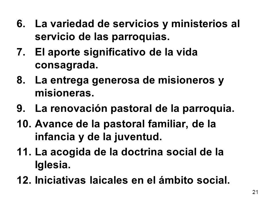 21 6.La variedad de servicios y ministerios al servicio de las parroquias. 7.El aporte significativo de la vida consagrada. 8.La entrega generosa de m