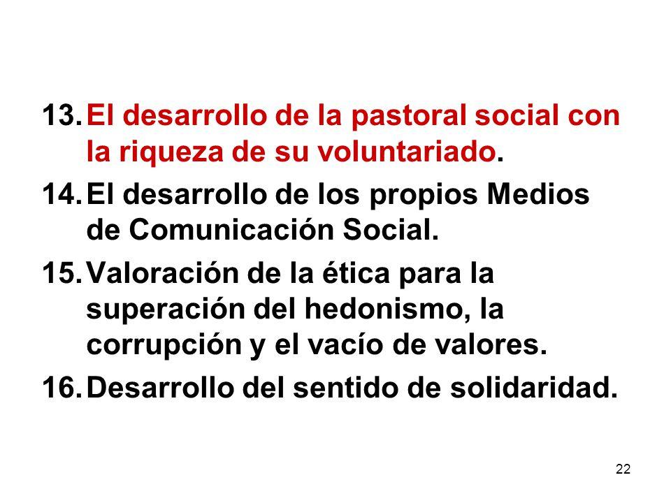 22 13.El desarrollo de la pastoral social con la riqueza de su voluntariado. 14.El desarrollo de los propios Medios de Comunicación Social. 15.Valorac
