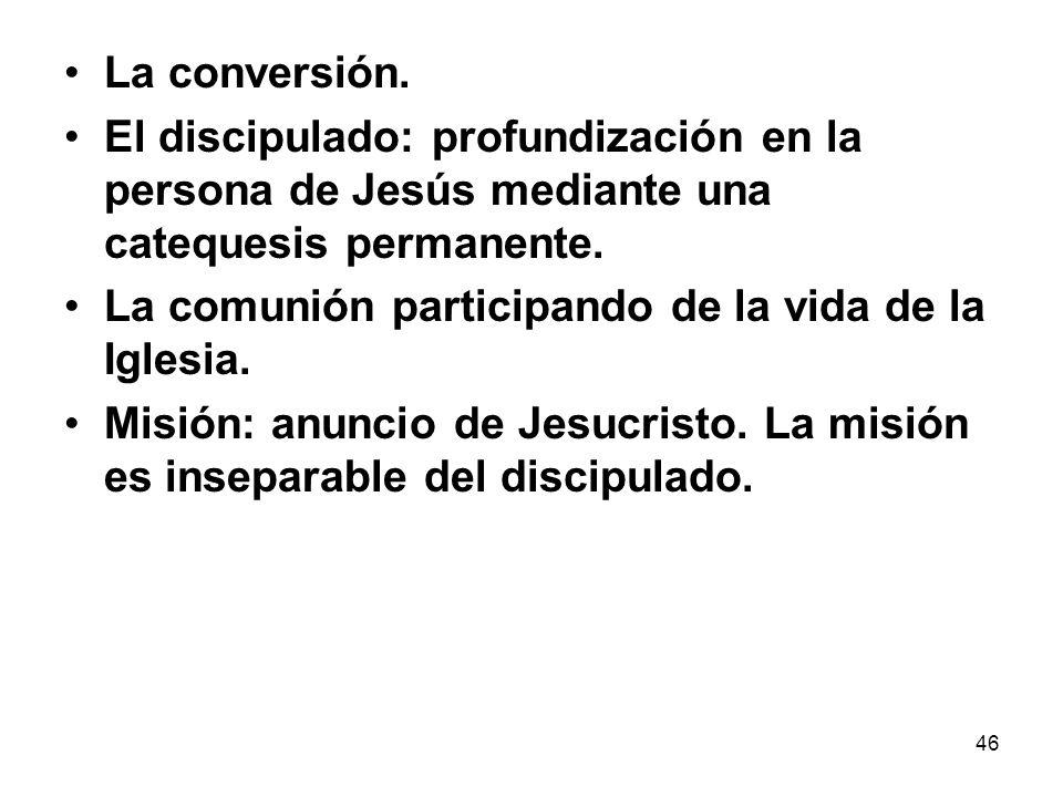 46 La conversión. El discipulado: profundización en la persona de Jesús mediante una catequesis permanente. La comunión participando de la vida de la