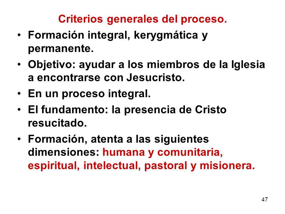 47 Criterios generales del proceso. Formación integral, kerygmática y permanente. Objetivo: ayudar a los miembros de la Iglesia a encontrarse con Jesu
