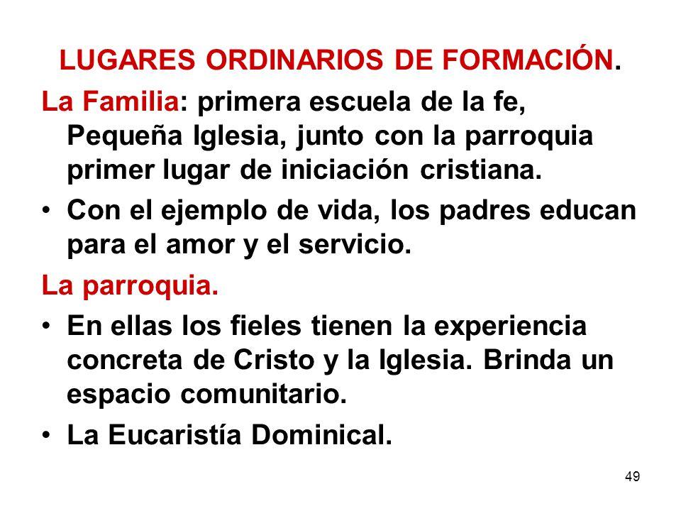 49 LUGARES ORDINARIOS DE FORMACIÓN. La Familia: primera escuela de la fe, Pequeña Iglesia, junto con la parroquia primer lugar de iniciación cristiana