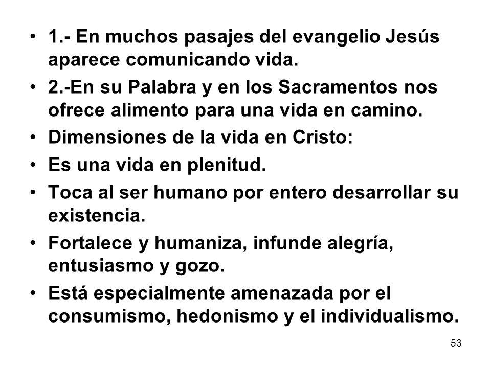 53 1.- En muchos pasajes del evangelio Jesús aparece comunicando vida. 2.-En su Palabra y en los Sacramentos nos ofrece alimento para una vida en cami