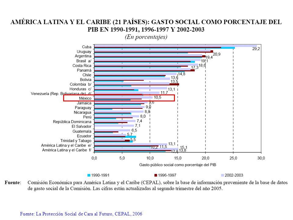 Fuente: La Protección Social de Cara al Futuro, CEPAL, 2006