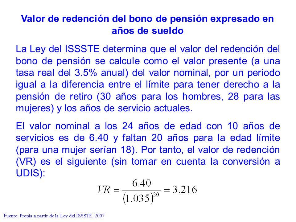 La Ley del ISSSTE determina que el valor del redención del bono de pensión se calcule como el valor presente (a una tasa real del 3.5% anual) del valo