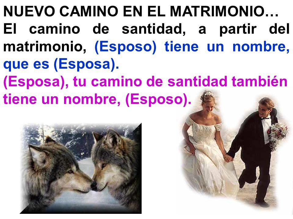 NUEVO CAMINO EN EL MATRIMONIO… El camino de santidad, a partir del matrimonio, (Esposo) tiene un nombre, que es (Esposa). (Esposa), tu camino de santi