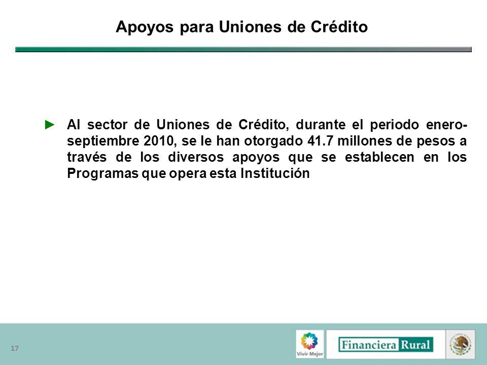 17 Apoyos para Uniones de Crédito Al sector de Uniones de Crédito, durante el periodo enero- septiembre 2010, se le han otorgado 41.7 millones de peso