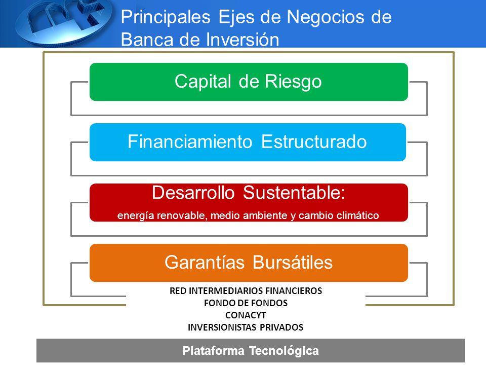 Principales Ejes de Negocios de Banca de Inversión Capital de RiesgoFinanciamiento Estructurado Desarrollo Sustentable: energía renovable, medio ambiente y cambio climático Garantías Bursátiles RED INTERMEDIARIOS FINANCIEROS FONDO DE FONDOS CONACYT INVERSIONISTAS PRIVADOS Plataforma Tecnológica