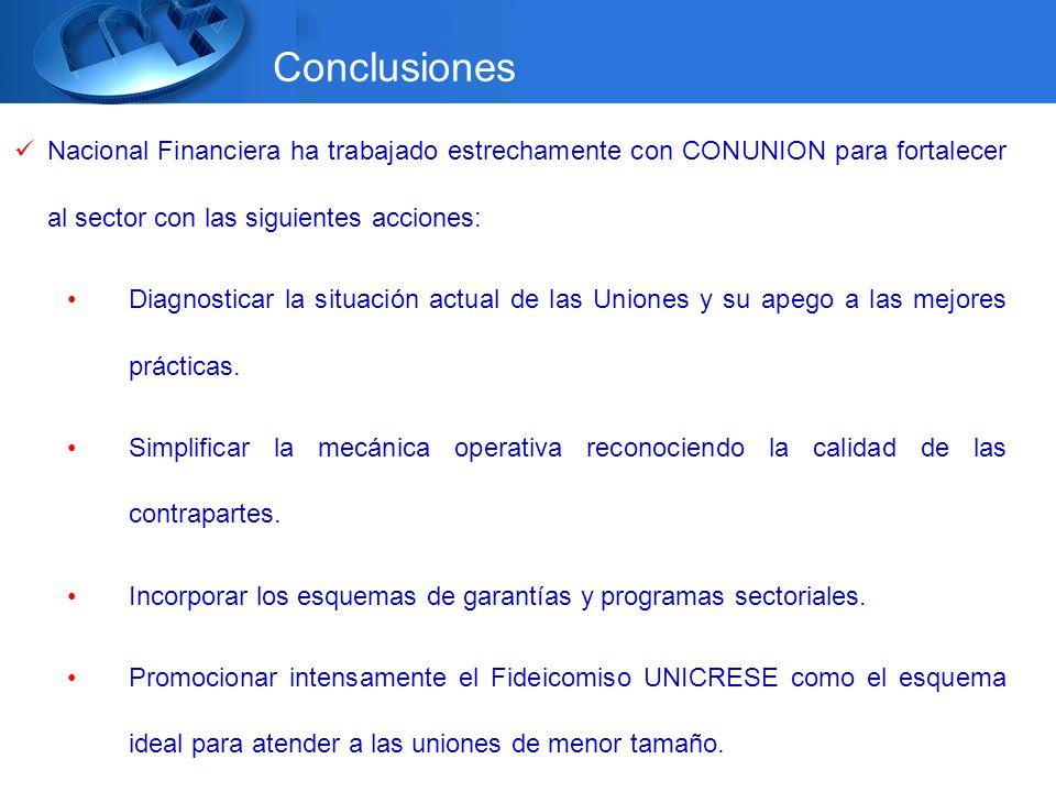 Nacional Financiera ha trabajado estrechamente con CONUNION para fortalecer al sector con las siguientes acciones: Diagnosticar la situación actual de las Uniones y su apego a las mejores prácticas.
