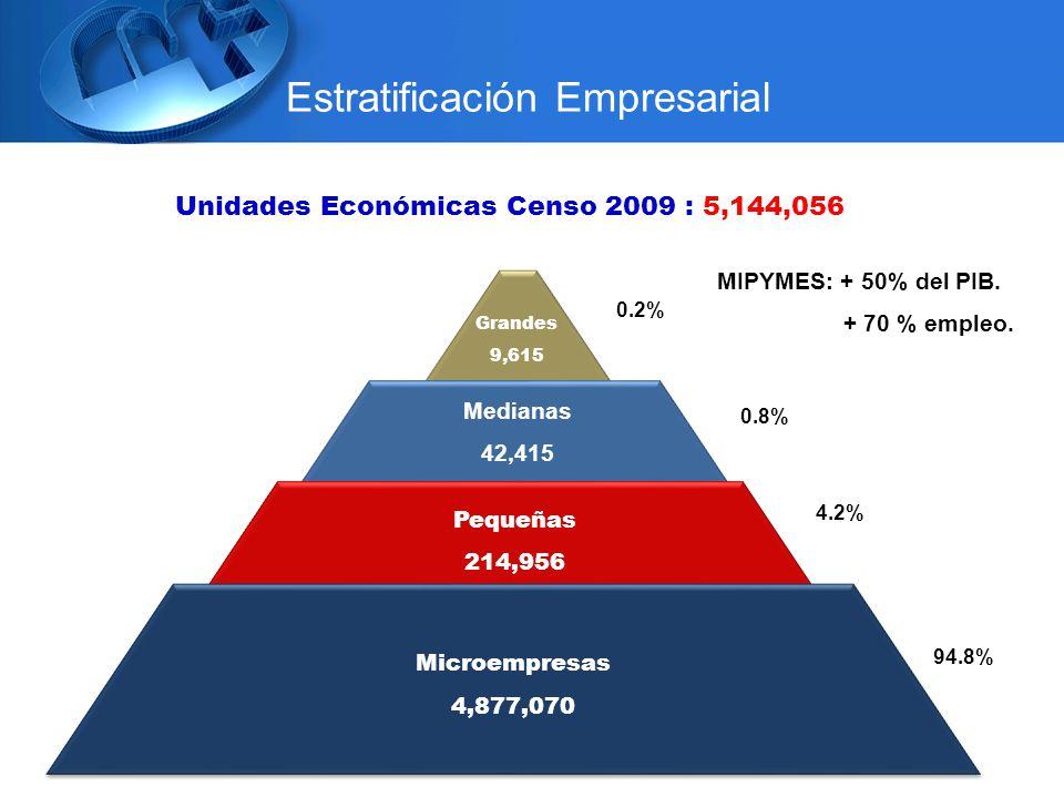 Unidades Económicas Censo 2009 : 5,144,056 Grandes 9,615 Medianas 42,415 Pequeñas 214,956 Microempresas 4,877,070 Microempresas 4,877,070 94.8% 4.2% 0.8% 0.2% Estratificación Empresarial MIPYMES: + 50% del PIB.