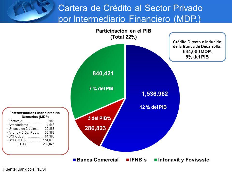 Cartera de Crédito al Sector Privado por Intermediario Financiero (MDP.) 7 % del PIB 12 % del PIB 3 del PIB% Fuente: Banxico e INEGI Intermediarios Financieros No Bancarios (MDP) Factoraje………………..