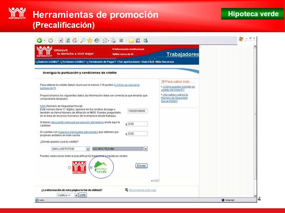 Hipoteca verde 14 Herramientas de promoción (Precalificación)