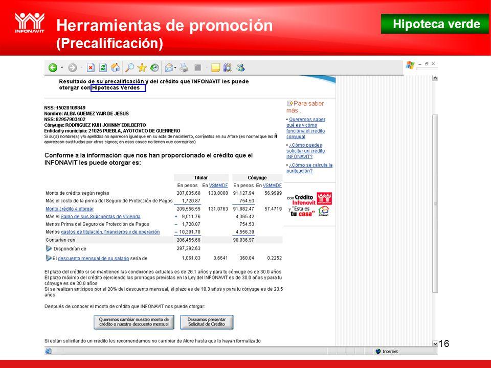 Hipoteca verde 16 Herramientas de promoción (Precalificación)