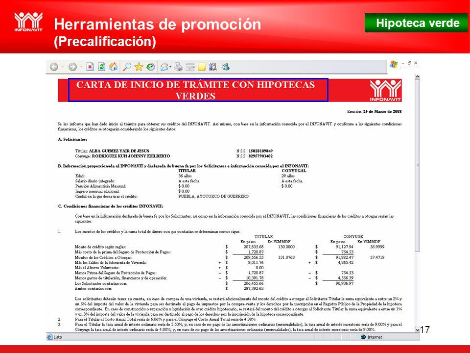 Hipoteca verde 17 Herramientas de promoción (Precalificación)