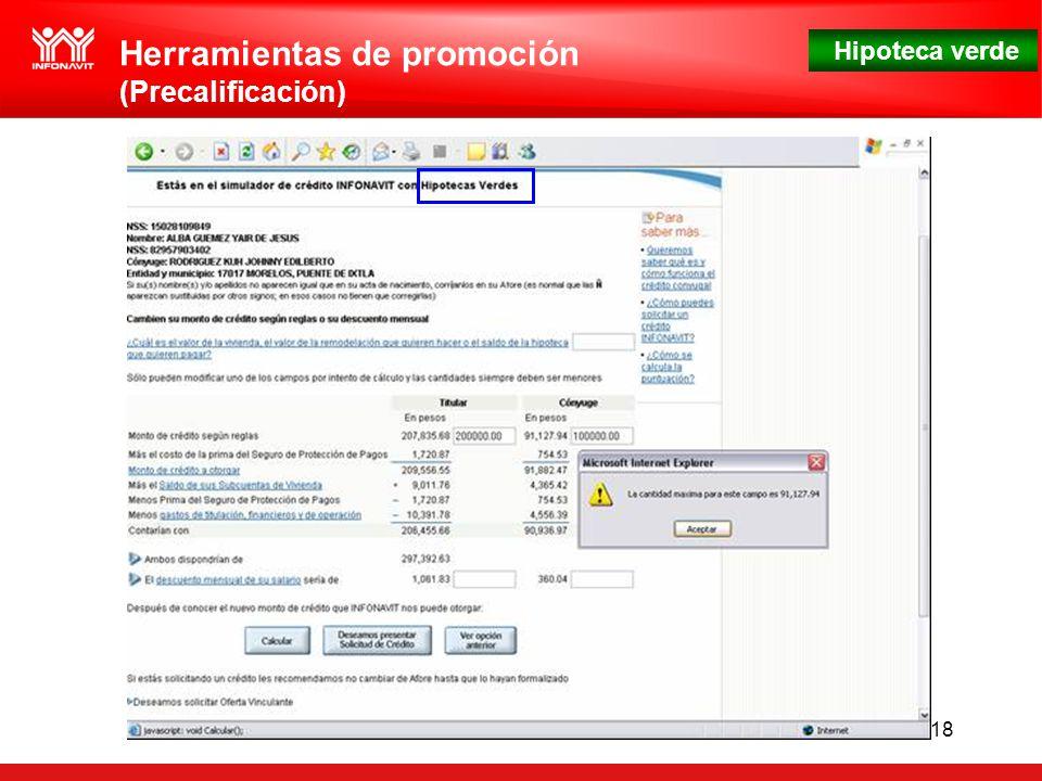 Hipoteca verde 18 Herramientas de promoción (Precalificación)
