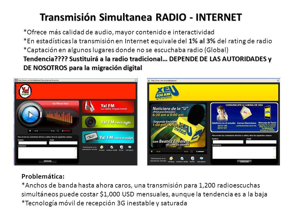 Transmisión Simultanea RADIO - INTERNET *Ofrece más calidad de audio, mayor contenido e interactividad *En estadísticas la transmisión en Internet equivale del 1% al 3% del rating de radio *Captación en algunos lugares donde no se escuchaba radio (Global) Tendencia???.