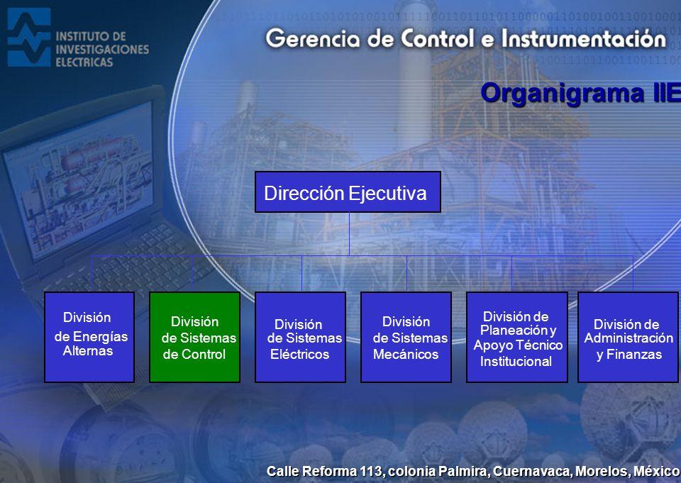 Calle Reforma 113, colonia Palmira, Cuernavaca, Morelos, México Gerencia de Control e Instrumentación Gerencia de Simulación Gerencia de Supervisión de Procesos Gerencia de Sistemas Informáticos