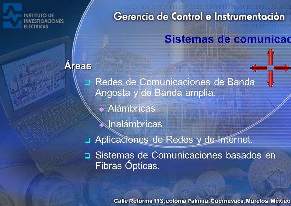 Calle Reforma 113, colonia Palmira, Cuernavaca, Morelos, México Sistemas de comunicaciones Áreas Redes de Comunicaciones de Banda Angosta y de Banda a