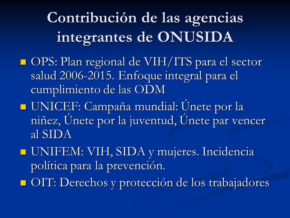 Contribución de las agencias integrantes de ONUSIDA OPS: Plan regional de VIH/ITS para el sector salud 2006-2015.