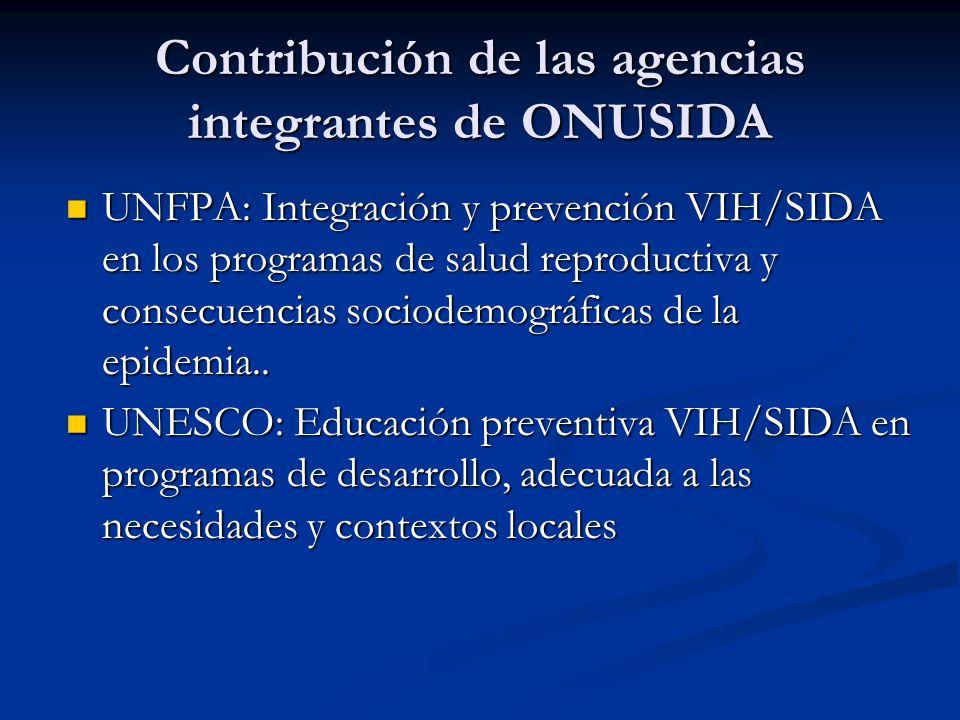 UNFPA: Integración y prevención VIH/SIDA en los programas de salud reproductiva y consecuencias sociodemográficas de la epidemia..