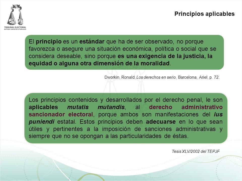 Dworkin, Ronald, Los derechos en serio, Barcelona, Ariel, p. 72. El principio es un estándar que ha de ser observado, no porque favorezca o asegure un