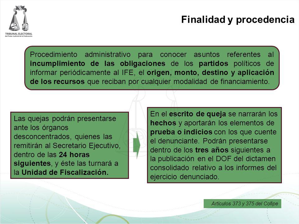 Finalidad y procedencia En el escrito de queja se narrarán los hechos y aportarán los elementos de prueba o indicios con los que cuente el denunciante