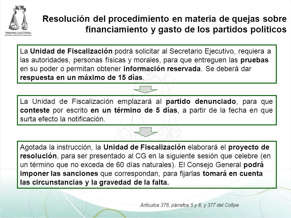 Resolución del procedimiento en materia de quejas sobre financiamiento y gasto de los partidos políticos La Unidad de Fiscalización emplazará al parti