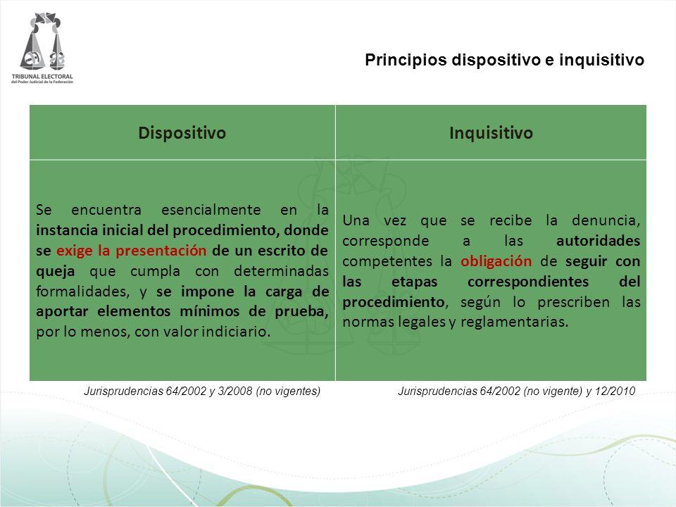 Principios dispositivo e inquisitivo DispositivoInquisitivo Se encuentra esencialmente en la instancia inicial del procedimiento, donde se exige la pr
