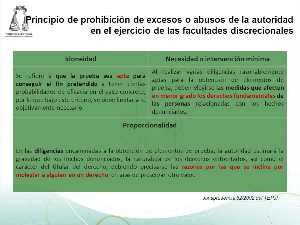 Principio de prohibición de excesos o abusos de la autoridad en el ejercicio de las facultades discrecionales IdoneidadNecesidad o intervención mínima