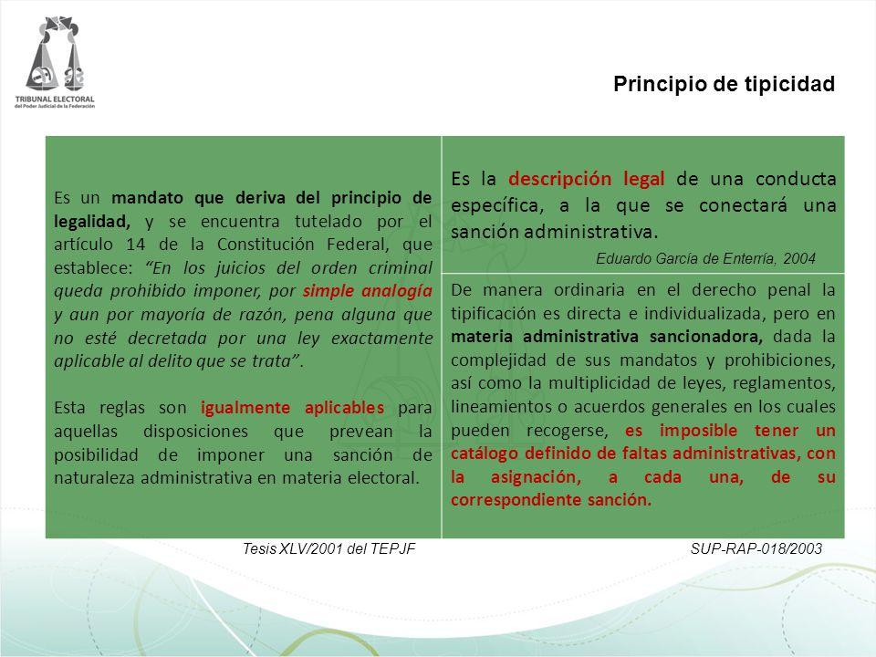 Principio de tipicidad Es un mandato que deriva del principio de legalidad, y se encuentra tutelado por el artículo 14 de la Constitución Federal, que