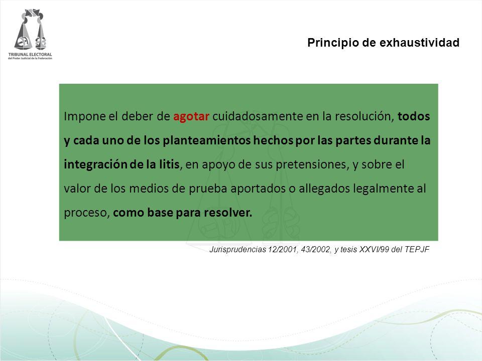 Principio de exhaustividad Impone el deber de agotar cuidadosamente en la resolución, todos y cada uno de los planteamientos hechos por las partes dur