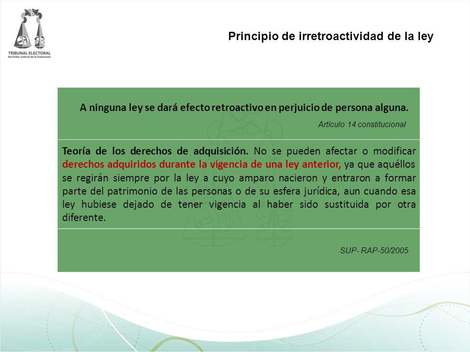 Principio de irretroactividad de la ley A ninguna ley se dará efecto retroactivo en perjuicio de persona alguna. Teoría de los derechos de adquisición